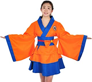 Clothes of Women's Kimono for Son Goku Design Cosplay Costume, Jacket and Skirt