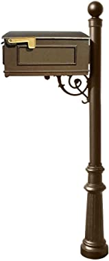 Qualarc Lewiston Cast Aluminum Post Mount Mailbox System with Post, Aluminum Mailbox, Fluted Base and Ball Finial, Bronze, Sh