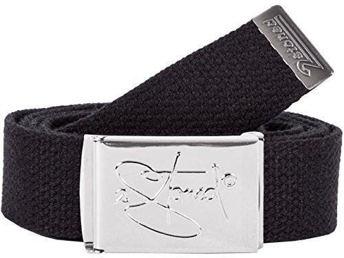2Stoned Hosengürtel Schmal Schwarz, Chromschnalle Classic, 3 cm breit, Textil-Gürtel für Damen und Herren