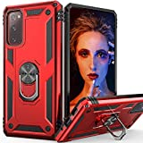 Galaxy S20 FE 5G Case with Ring Magnetic Car Mount Kickstand, IDweel Heavy Duty Drop Shockproof Durable Case Soft TPU Hybrid Hard Case for Samsung Galaxy S20 FE 5G / S20 Lite, Red
