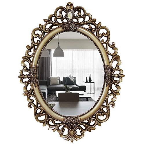 YBGW Wandspiegel Deko Groß Spiegel Geschnitzter Ovaler Dekorativer Spiegel Großes Badezimmer Wandspiegel Toilettenspiegel Waschbecken