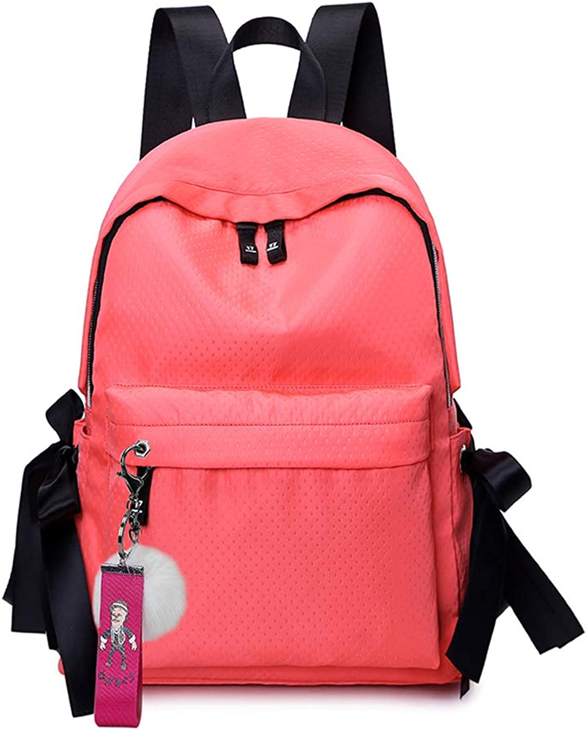 Backpack junior high school student bag leisure college wind backpack small fresh Korean version of the solid color female backpack,pink red
