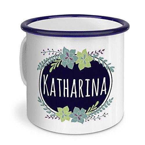 printplanet Emaille-Tasse mit Namen Katharina - Metallbecher mit Design Flowers - Nostalgie-Becher, Camping-Tasse, Blechtasse, Blau