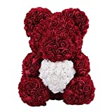 CARDMOE Für Immer Rose Blume Teddybär Puppe, Valentinstag künstliche Rose Teddybär Puppen, ideale Hochzeit Geburtstag Valentinstag Dekorationen