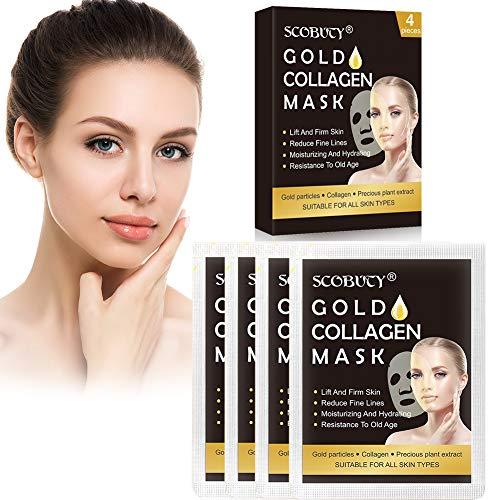 Collagen Masken,Collagen Facial Mask Sheet,Golden Collagen Gesichtsmaske,Kollagen Gesichtsmasken für Anti-Aging, Feuchtigkeitscreme, Anti-Falten,4 Stück