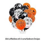 """TEDORU XXL Deko Set für Halloween zum Gruseln   """"Happy Halloween"""" Folienluftballons + 3 XXL Grusel-Folienluftballons + 30 Luftballons mit Motiven + 20 Plastik Spinnen Tischdeko + Leucht-Spinnennetz - 8"""