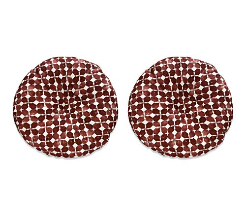 Fabritones Outdoor Chair Cushions Set of 2 Red Geometry 18x18 Inch Circular Patio Seat Cushions for Outdoor Patio Furniture