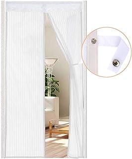 Cortina Mosquitera Magnética para Puerta con Alzapaños, Mosquitera para Puertas Para Puertas Cortina de Sala de Estar 90 x 210 cm de AUGOLA 2020, Blanco