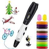Lovebay Stylo 3D Professionnel 【2020 Nouveau Cadeaus】, 3D Pen kit 12 Multicolores Filament PLA Φ1,75 mm, Stylo 3D pour Enfant, Adulte, débutant, avec Affichage LED