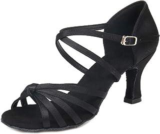 4ec09dd7 HROYL Zapatos de Baile para Mujer Zapatos de Baile de salón Satín con  5cm/7cm