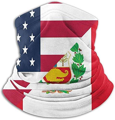 American and Peru Flag Neck Gaiter Headwear Multifunctioneel Balaclavas Neck Warmer Tube Motorcycle Ski Face Mask