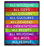 Welcome Sign - Liberal Wall Decor Picture - Gift for LGBTQ, Queer, Gay, Bi, Lesbian, African American, Black, Latino - 8x10 Paper Plaque Art Poster Print for Home, Office, Store, Bar - Unframed