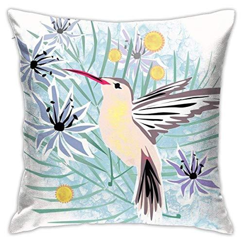 maichengxuan Funda de almohada, diseño de colibríes, con flores tropicales, fundas de almohada, fundas de cojín para el coche, fundas de cojín