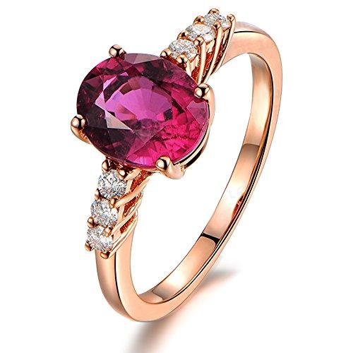 Sencillo Elegante para Mujer Naturales Turmalina Piedra preciosa Real Diamante Sólido 14K Oro rosa Boda Promesa Anillo