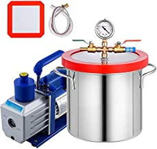 Bestauto 2 Gallon Vacuum Degassing Chamber Stainless Steel Degassing Chamber 7.5L Vacuum Chamber with 5 CFM 1/3HP Single Stage Pump Kit(2 Gallon Vacuum Chamber+ 5CFM Pump)