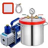 Bestauto 2 Gallon Vacuum Degassing Chamber Stainless Steel Degassing Chamber 7.5L Vacuum Chamber with 5 CFM 1/3HP Single Stage Pump Kit(2 Gallon Vacuum Chamber+ 5CFM Pump)
