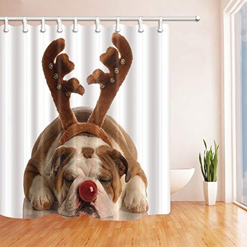 LRSJD hondenliefhebber douchegordijnen voor badkamer grappige hondenkleding Pluche gewei Leun op de vloer polyester weefsel waterdicht badgordijn douchegordijn haken bevatten 71 x 71 in