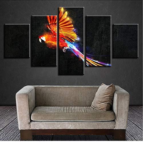 Ysurehom Leinwand Wohnzimmer Hd Dekoration Gedruckt Moderne Bilder 5 Panel Papagei Malerei Wandkunst Modulare Poster Cuadros