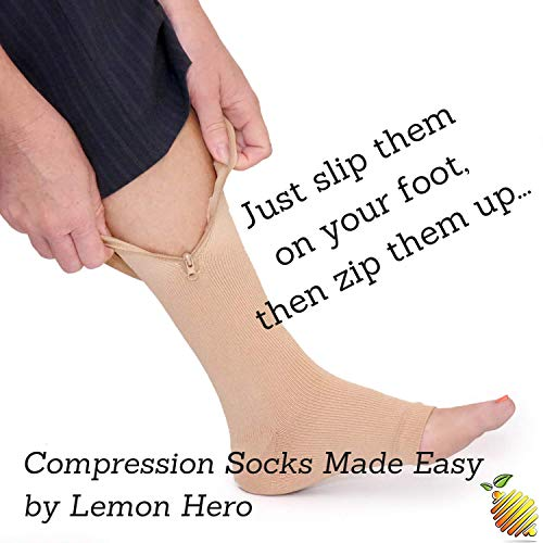 Zipper Compression Socks with Zip Guard Skin Protection & Open Toe (Med to 6XL)
