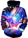 Loveternal Galassia Felpa Uomo 3D Stampa Felpe con Cappuccio Pullover Galaxy Hoodie Manica Lunga Sweatshirt con Tasche S