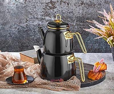 Enamel Turkish Teapot Samovar - Nostalgic Retro Samovar Kettle Special Design Midi Size Caydanlik 2 Lt (Black)