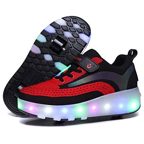 CNNLove LED Luces Patines sobre Ruedas para Niños Calzado De Skateboarding Zapatos con Ruedas Zapatillas con Dos Ruedas para Niños Y Niña,Negro,36