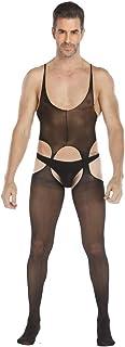 HNGPB Men's Vest Stockings Onesies One Piece Siamese Socks Pantyhose Transparent Underwear