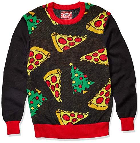 Hybrid Apparel suéter Feo de Navidad para Hombre, Pizza/Black, Large