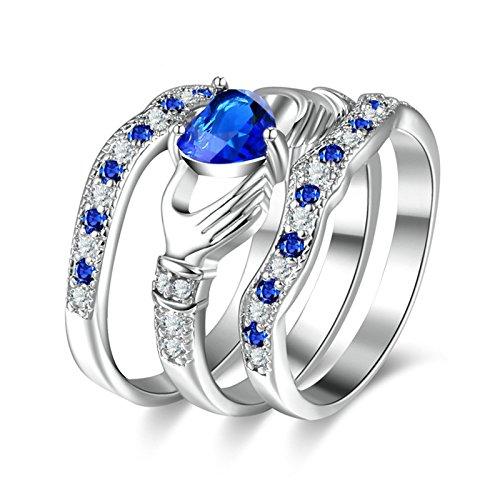 Beydodo Damen Ringe Versilbert Stapelring Claddagh Blau Herz Zirkonia Trauring Partner Ring Silber Gr.60 (19.1)