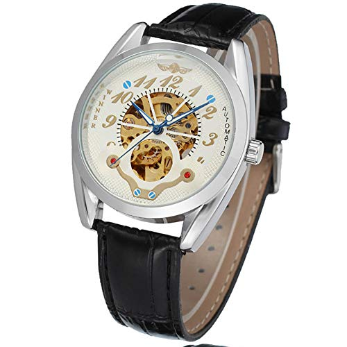 Cloudbox Reloj mecánico - Hombre automático reloj mecánico reloj completo hueco impermeable reloj blanco + plata + oro para hombres