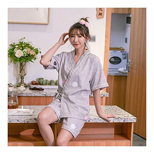 GODVC Ropa Mujer Kimono Corto de algodón con Cuello en V de Pareja Estilo japonés Yukata for el Adulto Hombre Jinbei Pijama de Dormir de la Ropa del (Color : Color1, Size : M)