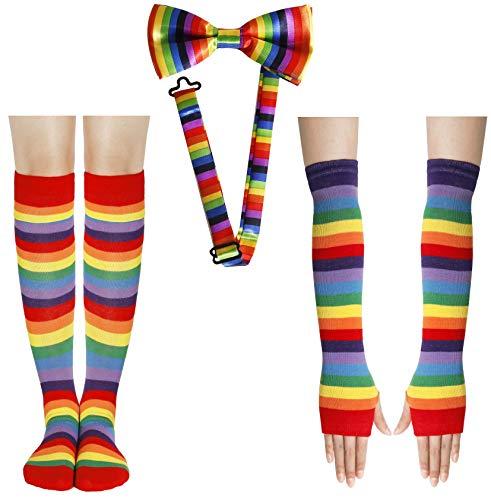 Cheerleader Kostüm Knee Socks Kniestrümpfe Bunt Regenbogen Streifen Handschuhe Schleife Clown Kostüm Damen 80s 90s Kleidung Zubehör Set Erwachsene