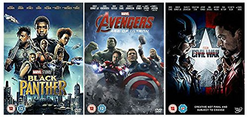 Black Panther + Movies to watch before Age of Ultron and Civil War DVD collection + Special Features