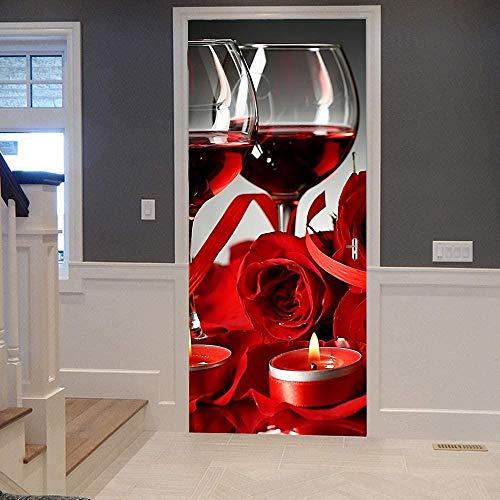 Papel Pintado Puerta Efecto 3D Extraíble Murales Para Puertas Autoadhesivo Impermeable PVC de Cocina Sala Baño oficina Decoración Puerta Papel Tapiz 77 x 200cm Vino tinto rosa