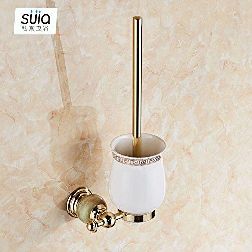 Handdoekhouder van koper, jade-rek, accessoires voor badkamer, roestvrij staal, voor badkamer, Europese, goudkleurig, toiletborstel van saffier