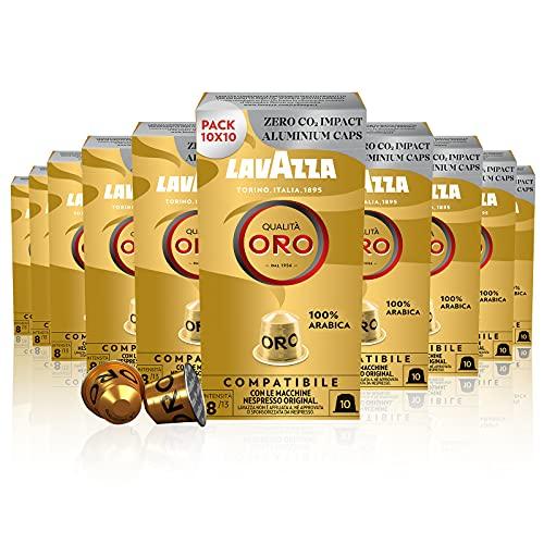 Lavazza Qualità Oro, 100% Arabica, Capsule in Alluminio Compatibili con macchine Nespresso Original, 10 Confezioni da 10 Capsule