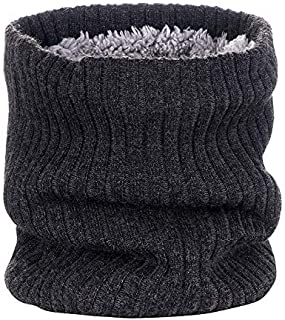 SODIAL Outdoor Neck Warmer Scarf Soft Double-Layer Knitted Fleece Lined Neck Gaiter for Cycling Skiing Climbing Dark Gray