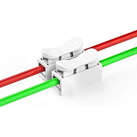 100 Stück Schnelle Kabel Zum Verbinden Verbindungsklemmen 2 Pin Schnellverbinder Kabel Lüsterklemme Ch 2 Drahtklemmen Lüsterklemmen Für Beleuchtung Energie Und Fahrzeugverkabelung Verbindung Baumarkt