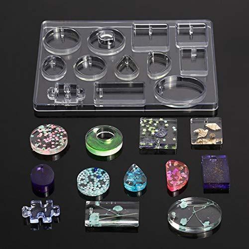 QTQHOME Molde de silicona para colgantes de joyas, de resina, para manualidades, 12 formas de silicona