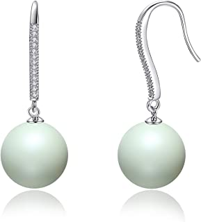 Esottia Dangle Drop Earrings Made with Crystal Pearls from Swarovski, Gifts for Women, Multi Color, Silver-Tone