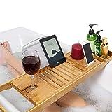 Unuber Bambus Badewannenablage ausziehbar mit Weinglas-Halterung und iPad-Buch-Ablage, 70-104 x 6,4 x 23,6 cm (B x H x T)
