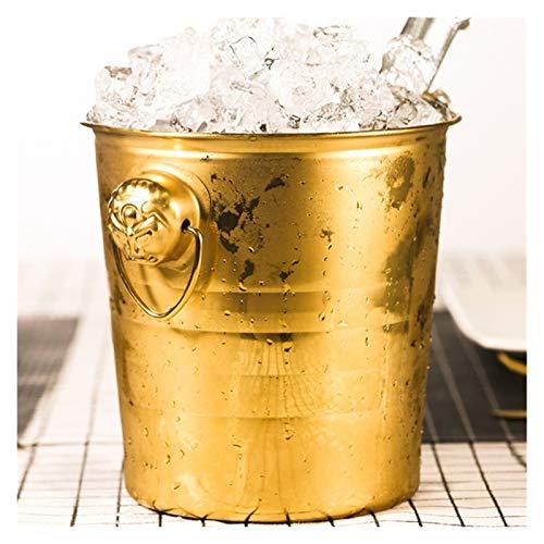 LANZHEN-RY Cubiteras para Hielo Cubo de Hielo Negro de Acero Inoxidable de 3L con Barras de Hielo de Barra de Filtro Cubo de Hielo de Champagne Enfriador Cerveza (Color : Golden)