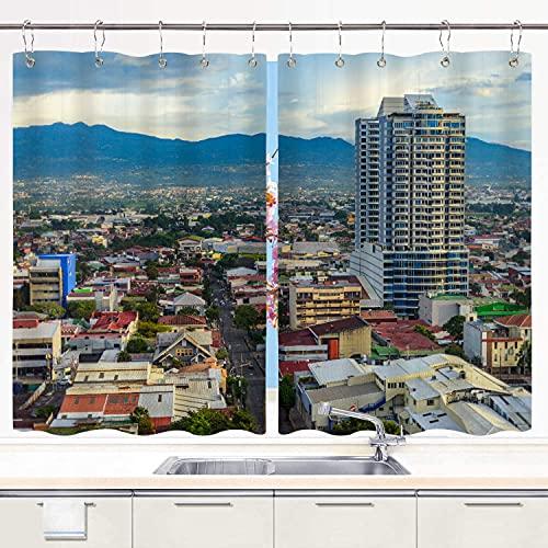Cortina de Cocina SDBUYW-ZQ ,San José Costa Rica Capital City., Juego de Paneles de Tratamiento de Ventanas Cortinas Ganchos de Metal incluidos Juego de 2 Paneles de 55x39 Pulgadas