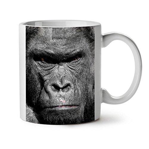 Wellcoda Mean Gorilla AFFE Angry Ape weiß Tee Kaffee Keramik Becher 11OZ