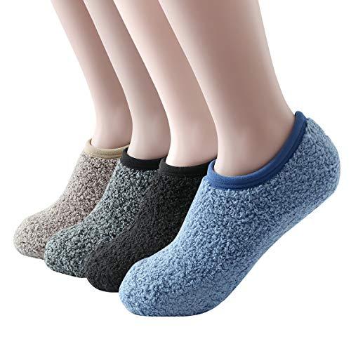 SKOLA 4 Cozy Winter Fuzzy Women Socks,Grip Slippers,Fluffy House Non Skid(Khaki/Gray/Black/Blue 4Pairs)