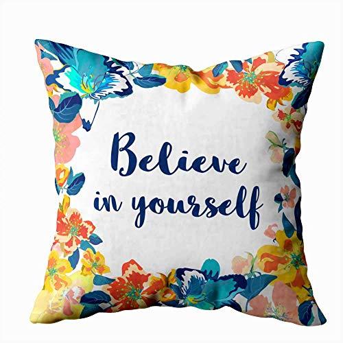 Funda de almohada para el hogar, 50,8 x 50,8 cm, con cita motivacional, frase azul, decoración floral aislada, fundas de almohada con cremallera, fundas de cojín para sofá cama