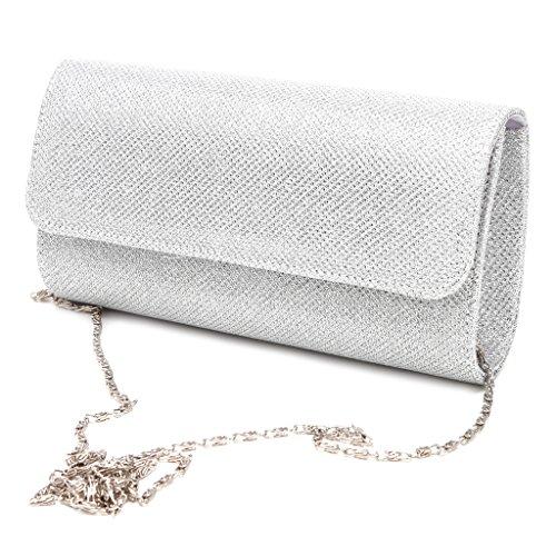 VIccoo donna sera frizione borsa a tracolla da sposa o festa di nozze busta borsetta, Silver, 20×11×5cm/7.87×4.33×1.97in
