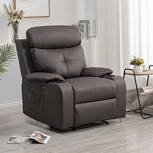 S&F Living Moden Leather Power Recliner-Padded Heavy Duty Electric Sofa Chairs with Side Pockets, Cup Holders and USB, Ergonomic Design for Living Room, Home, Theater Club and Lounge.