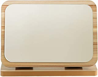 MXD Mirror Wood Mirror Folding Single-Sided Makeup Mirror Desktop Vanity Mirror Student Dormitory Desktop HD Portable (Size : S)