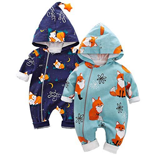 daimengmeng Bebé cremallera ropa encantador diseño Fox manga larga con capucha mono 0-3 meses/59